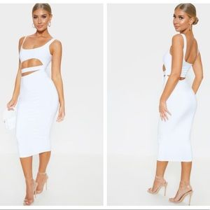 Sexy white cut out midi dress U.S. size 6 NWT